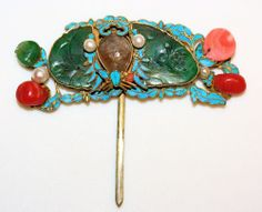 Antique Chinese Gilt Silver Jade Tourmaline Coral Kingfisher Hair Ornament Pin