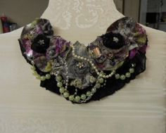 Statement Necklace , Boho,  Textille, Black,  antique jewelry, pearls,  handmade