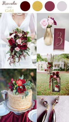 marsala and gold wedding color ideas 2016 trends                                                                                                                                                     More