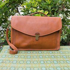 Vintage Coach Morgan British Tan Large Leather  Leather Flap