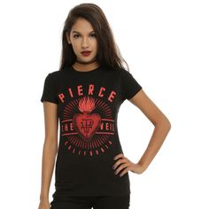 Hot Topic Pierce The Veil Sacred Heart Logo Girls T-Shirt ($18) ❤ liked on Polyvore featuring plus size women's fashion, plus size clothing, plus size tops, plus size t-shirts, black, fitted tee, logo t shirts, logo design t shirts, logo tees and logo top