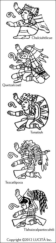 A totem column made of a selection of the 13 deities of the Mayan Tzolkin Calendar. Check the link for more templates available at the Mayan Calendar Portal website.