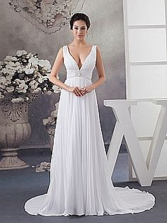 Sleeveless Deep V Neck Chiffon Bridal Dress - USD $149.00