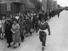 "The Population of Burgsteinfurt is Escorted to a Film about the Bergen-Belsen and Buchenwald Concentration Camps (May 30, 1945) To ""re-educate"" members of the German population, Allied occupation forces showed them films made in the liberated concentration camps. Shown in several places, these so-called atrocity pictures aimed to document the criminal character of the Nazi regime and to awaken feelings of individual and collective guilt among the people."