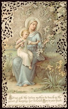 Holy Card with Mary and Jesus Child. Blessed Mother Mary, Divine Mother, Blessed Virgin Mary, Religious Pictures, Religious Icons, Religious Art, Catholic Prayers, Catholic Art, Vintage Holy Cards