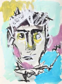 """This original work titled """"Man 006"""" is 30x42 cm in oil stick & acrylic on paper (90 gr.). It was made in June 2016 in Spain and is signed and dated on the back. It will ship carefully rolled up in ..."""