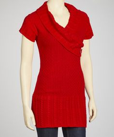 Take a look at this Red Short-Sleeve Surplice Sweater by Yoki on #zulily today!