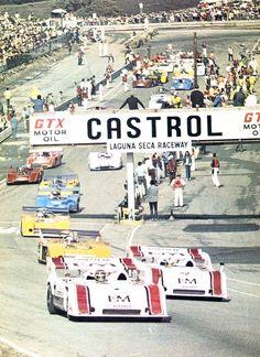 frenchcurious:  CAN AM (1972) - Laguna Seca - G.Folmer - M.Donohue  Porsche 917/10 turbo - Sport auto Décembre 1972