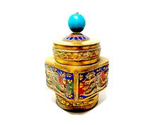 Chinese Snuff Box Brass Snuff Box Hand Painted by TheVintagePorch