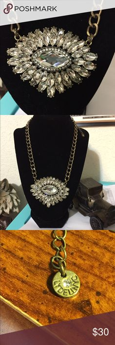 Lydell NYC Rhinestones or cubic zirconia necklace Large stone in middle with smaller stones all around it. Very shiny, sparkly Jewelry Necklaces