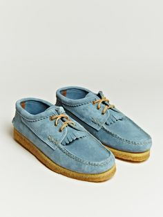 Yuketen Blucher Kiltie in powder blue suede.