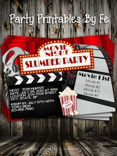 Misc Theme Invitation - Movie Slumber Party