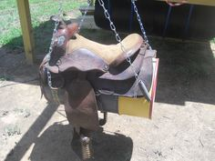 A barrel and a saddle and you got a kids swing.