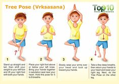 Tree Pose for yoga Vrksasana - 10 Amazing Yoga Poses for Your Kids to Keep Them Fit and Healthy Kids Yoga Poses, Basic Yoga Poses, Cool Yoga Poses, Yoga For Kids, Exercise For Kids, Childrens Yoga, Top 10 Home Remedies, Education Positive, Learn Yoga