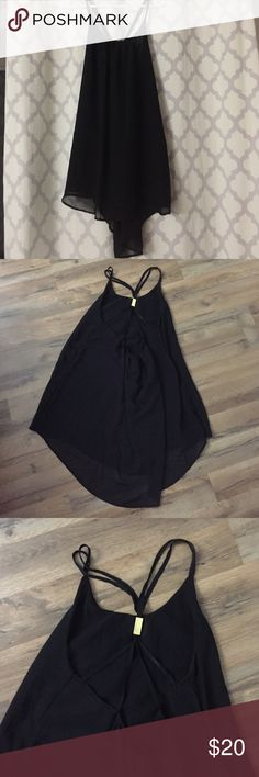 Swim suit cover Super cute scrappy black swim suit cover up with gold detailing--never worn! Swim Coverups