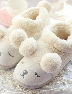 X&D Damenschuhe - Pantoffeln - Outddor / Lässig - Kaschmir - Flacher Absatz - Rundeschuh / Komfort - Weiß / Grau - http://on-line-kaufen.de/tba/x-d-damenschuhe-pantoffeln-outddor-laessig-weiss