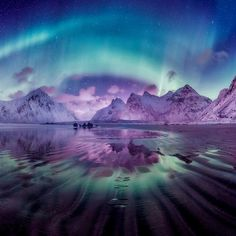 Reflections: Aurora Winter Magic in Norway Beautiful Nature Wallpaper, Beautiful Sky, Beautiful Landscapes, Beautiful World, Beautiful Norway, Pretty Pictures, Cool Photos, Scenery Wallpaper, Jolie Photo