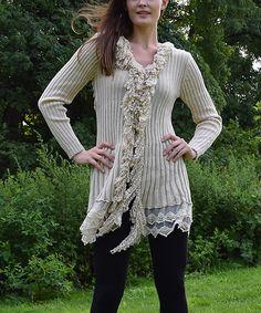 Beige Ribbed Wool-Blend Duster - Women