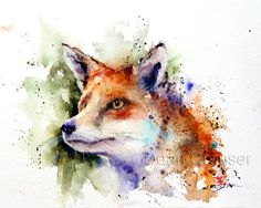 RED FOX Watercolor Print by Dean Crouser por DeanCrouserArt en Etsy