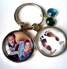 PERSONALIZED custom photo pendant key chain & baby owl birthstone,footprints birthday gift for dad grandma new mom nana grandpa, new baby