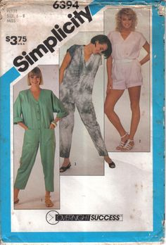 Vintage Simplicity Factory Folded  Tissue Jumpsuit Pattern 6394 Size 106-12 Bust 30-34 circa  1984 by EvaStAlbans on Etsy