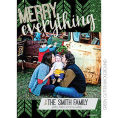 Merry Everything Green Glitter Holiday Photo Card | KateOGroup