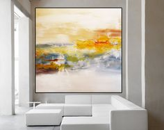 Large Abstract white Minimalist Art, Hand Painted Contemporary, Gold White Acrylic Painting, Original landscape White Abstract Art Huge