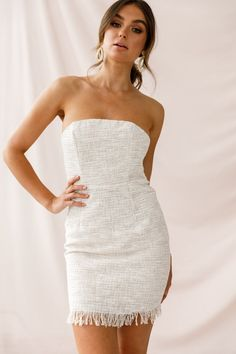 Shop the Edith Strapless Tweed Mini Dress Beige only at Selfie Leslie! Casual Dresses, Formal Dresses, Mini Dresses, Tropical Fashion, Strapless Mini Dress, Affordable Dresses, Going Out Dresses, Ladies Dress Design, Homecoming Dresses