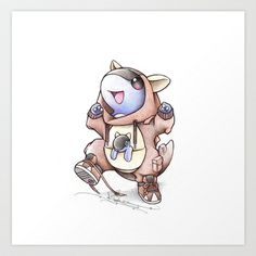 """""""When I grow up"""" Baby Kangaskhan in a Mama Kangaskhan onesie"""