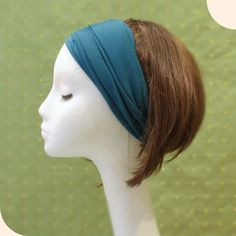 Rayon spandex stretchy jersey wide Yoga headband Teal via Etsy. This would be super easy to sew.
