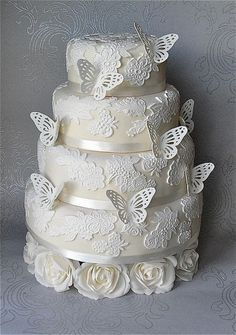 Lace Wedding Cakes I love sweets and cakes, and when a cake, for example, becomes an art piece – isn't that adorable? Today we'll speak about lace wedding cakes which are one of the hottest trends in the wedding world today. Beautiful Wedding Cakes, Gorgeous Cakes, Pretty Cakes, Amazing Cakes, Butterfly Wedding Cake, Butterfly Cakes, Butterflies, Flower Cakes, Fondant Cakes