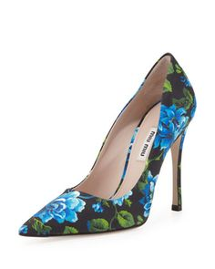 These would look amazing with some rolled boyfriend jeans and a big floppy sweater!  Floral-Print Point-Toe Pump, Blue by Miu Miu at Neiman Marcus.