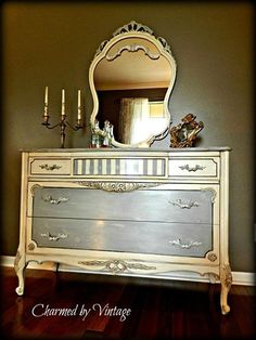 Great dresser and mirror painted by Odessa, FL's Charmed by Vintage in Chalk Paint® decorative paint by Annie Sloan. Paris Grey, Old White and dark wax. by may may