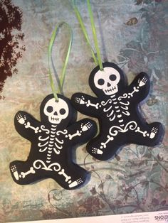 Halloween/Christmas Skeleton Ornaments. Set of 2 by voodookitty