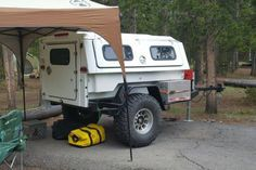 Here is an interesting way to build a Compact Camper. Find a used fiberglass slide-in style Utility Body and drop it on a frame. Photo by AWSteve on Expo