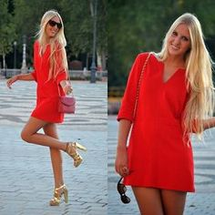 I love short tunic dresses with strappy heels