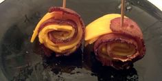 Quick Snack: Bacon Rollups - Caveman Keto 2 Slices Bacon 2 Slices Cheddar Cheese 2 Toothpicks Instructions Cut each piece of cheese in fours vertically Cook bacon until crisp Remove bacon and quickly add cheese, then roll Skewer the roll and let the bacon crisp and the cheese melt a little