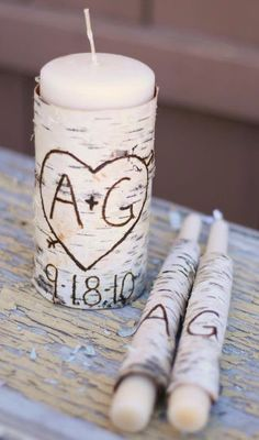 Personalized Unity Candle Set Rustic Birch Bark by Steven and