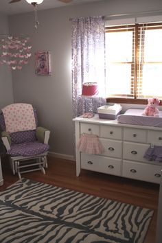 purple and gray nursery. sub yellow for pink