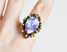 Vintage 50s 60s Tall AB Rhinestone RING / Blue Pear Crystal Cocktail Ring / 1950s 1960s