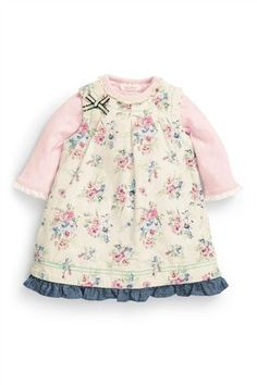 Buy Cream Floral Cord Dress And Pink Bodysuit Two Piece Set (0-18mths) from the Next UK online shop