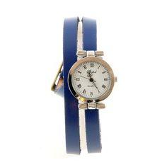 a2dffa58863 Bracelet double tour cuir bleu Montre femme pas chère