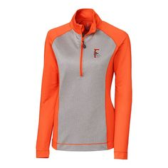 Fresno Grizzlies Cutter   Buck Women s All-Star Printed 1 2-Zip Pullover  Jacket – Orange Gray fa11ff458