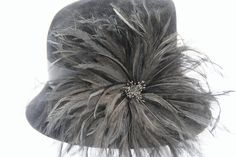 Black Women's Hat, Fur Felt, Cloche, Ostrich Feather, Church Hat, Wedding Hat, Theatre Hat, Hand Made in the USA.