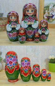 nesting dolls in floral crown
