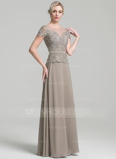 A-Line/Princess Scoop Neck Floor-Length Zipper Up Sleeves Short Sleeves No Other Colors General Plus Chiffon Mother of the Bride Dress