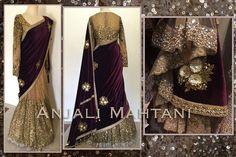 Burgundy Brights ❤ Kali saree with zari embroidery and sequin Anjali mahtani All Fashion, Indian Fashion, Ladies Fashion, Anarkali Lehenga, Sabyasachi, Groom Outfit, Pure Silk Sarees, Half Saree, Indian Ethnic Wear