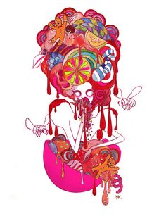 Seven Deadly Sins 'Gluttony' Art Print by Gina Martynova. I like the style of the graphic and the bright colours that have been used. Seven Deadly Sins Gluttony, 7 Deadly Sins, 7 Sins, Goth Art, Canvas Prints, Art Prints, Art Drawings, Drawing Designs, Fantasy Art