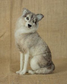 RESERVED FOR ANJA Dakotah the Gray Wolf: Needle felted animal sculpture