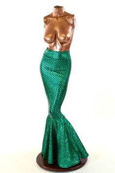 High Waist GREEN Shimmering Hologram Round by CoquetryClothing